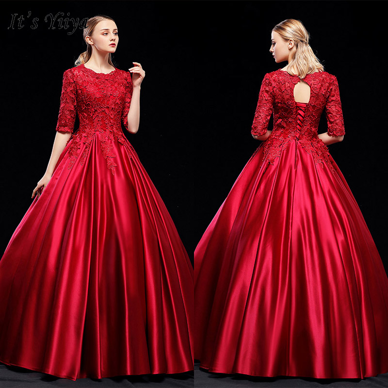 It's Yiiya Evening Dress 2019 Burgundy Half Sleeve O-Neck Appliques Embroidery Ball Gowns Elegant Long Party Formal Dress E1038