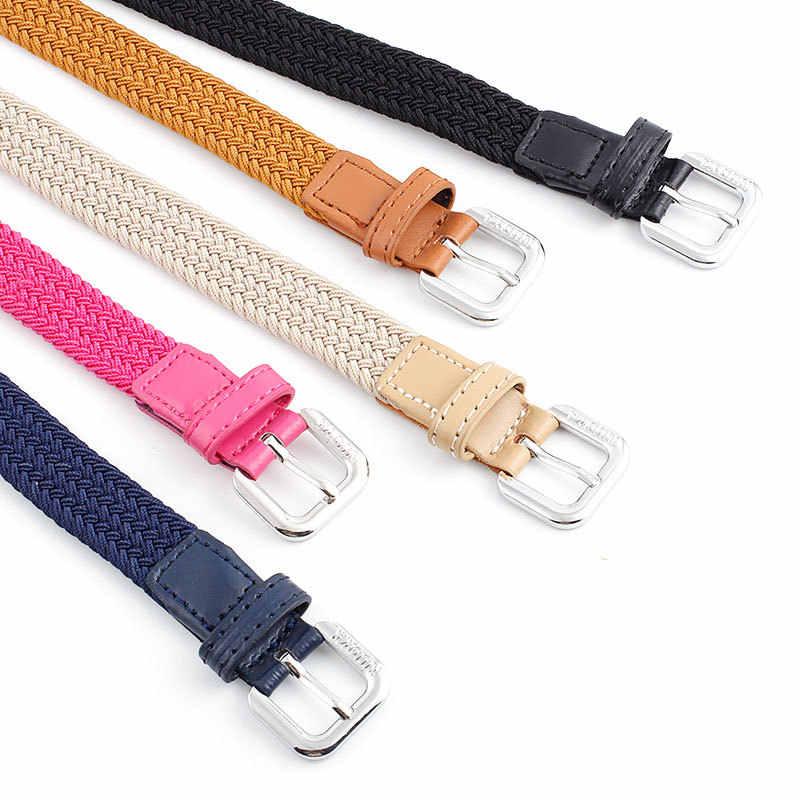 2020 femmes mode Stretch tressé élastique tissé toile boucle ceinture ceinture taille sangles hommes tissage ceinture
