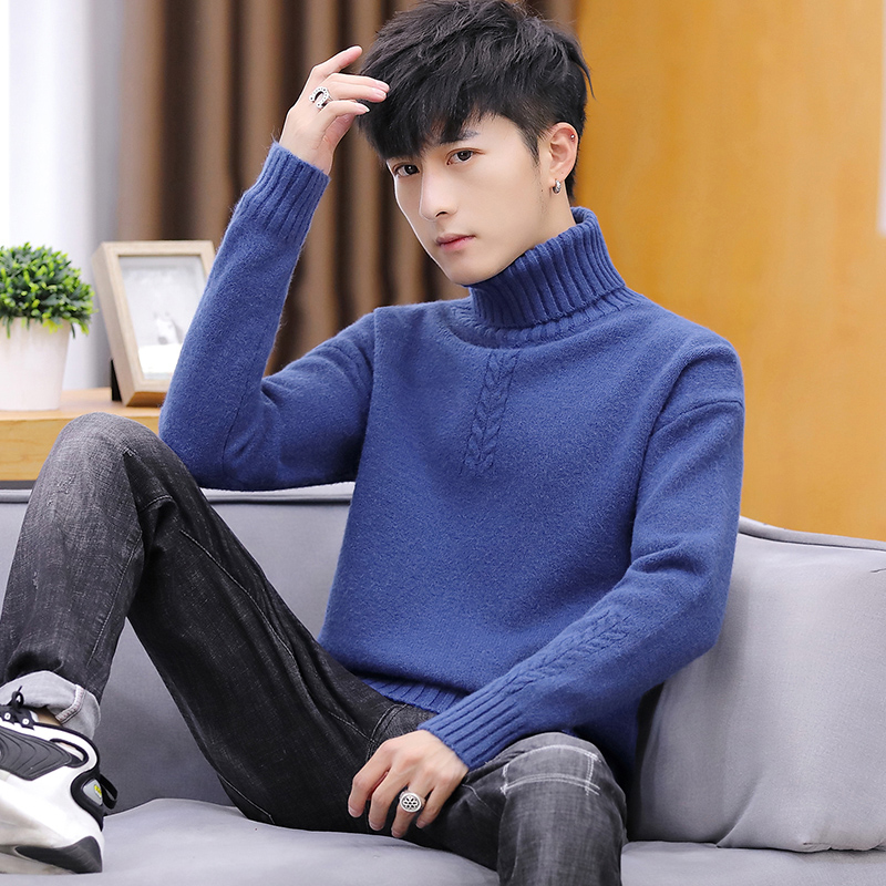 Cheap Wholesale, New Autumn And Winter 2019 Sale, Men's Fashion, Leisure, Repair, Height Collar, Pure Color Turtleneck Sweater