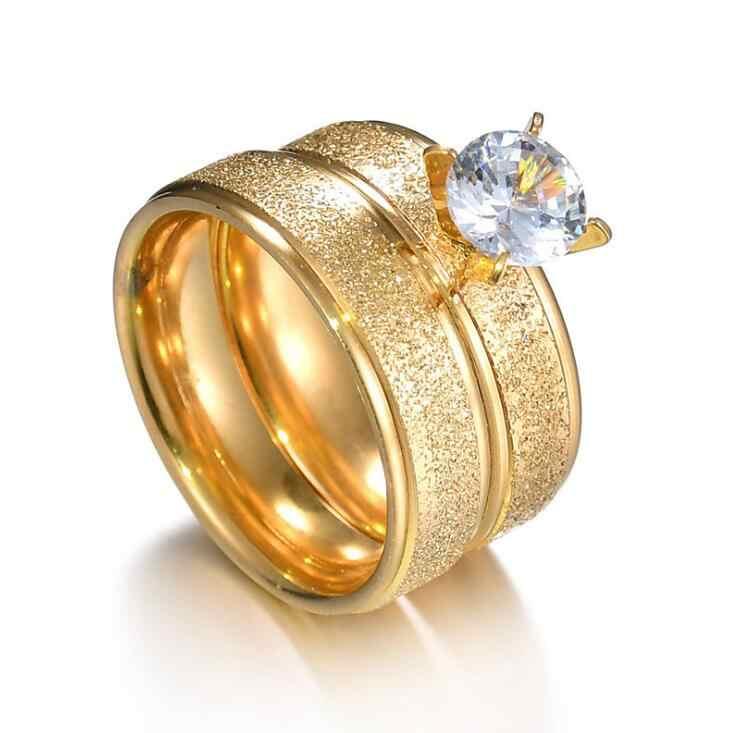 Cubic Zircon Matte งานแต่งงานแหวนคู่ทองไทเทเนียมสแตนเลสครบรอบโรแมนติกผู้หญิงเครื่องประดับ