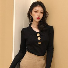 Women Autumn Winter Fashion Casual Solid Sweater Long Sleeve Button V-neck chic Sweater Female Slim Knit Top Pullovers цена и фото