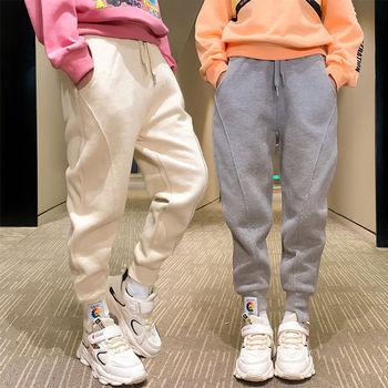 Nowy 2020 dziewczęcy jesień zima Casual sport cienkie aksamitne spodnie moda dziecięca luźne miękkie solidne spodnie z dzianiny wszystko pasujące ok tanie i dobre opinie Dziewczyny COTTON 4-6y 7-12y CN (pochodzenie) Wiosna i jesień LOOSE Pełna długość Pasuje na mniejsze stopy niezwykle Proszę sprawdzić informacje o rozmiarach ze sklepu