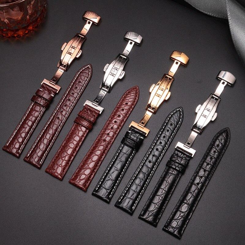 20mm 22mm Alligator leather watchband black brown bracelet Fit Samsung Galaxy Watch Gear Sport S4 S3 S2 smart watch accessories