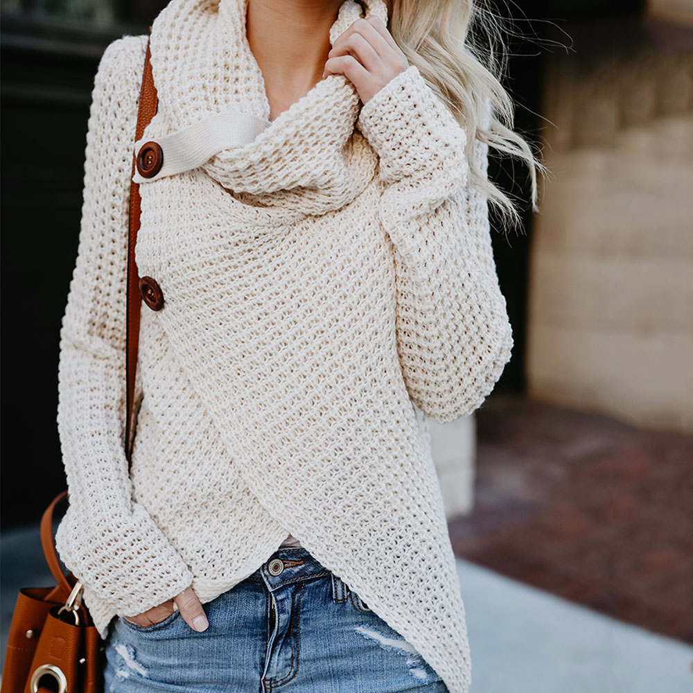 2019 Autumn Winter Women's Fashion Knit Sweater Buttons Loose Pullovers Coat Warm High Collar Irregular Sweater Plus Size