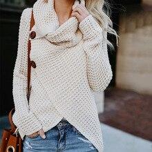 2019 Otoño Invierno suéter de punto de moda de las mujeres botones sueltos abrigo caliente suéter de cuello alto suéter irregular de talla grande
