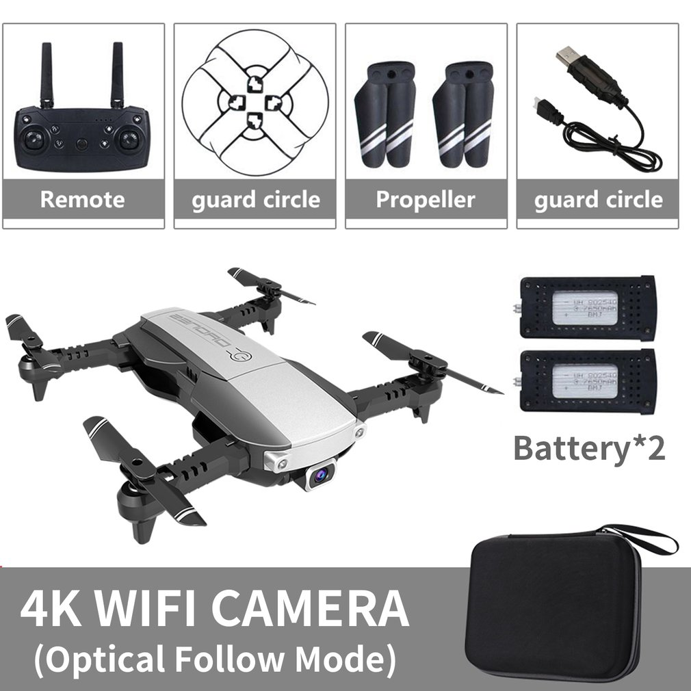 2019 LANSENXI-NVO Foldable 2.4GHz WiFi FPV Drone 4K Camera RC Drone Real-time Transmission Aircraft Toy with 2 Battery