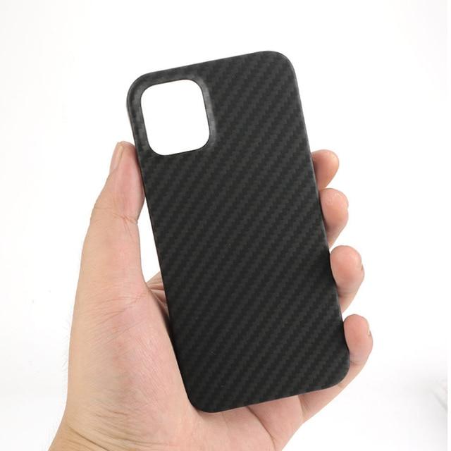 Real Pure Carbon Fiber Phone Case for Iphone 12mini 12 Promax Anti-Fall Hard Business Cover Aramid fiber case iphone12Case Shell 6