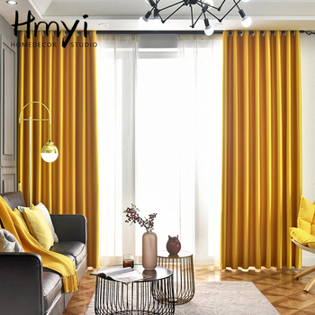 Yellow Solid Blackout Curtains for Living Room Luxury Curtains for Bedroom Curtains for Window Treatment Finished Blinds Drapes modern blackout curtains for living room bedroom yellow curtains for window curtains drapes treatment finished blinds custom