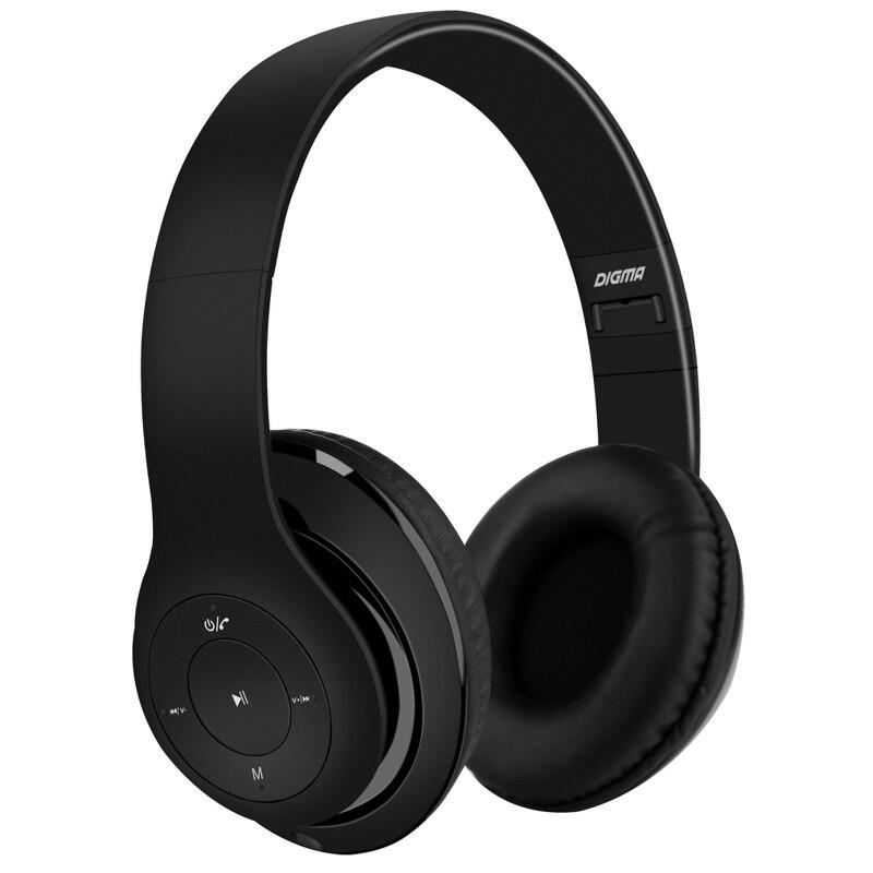 Наушники с микрофоном DIGMA BT-14, Bluetooth, накладные, черный [l150bt]