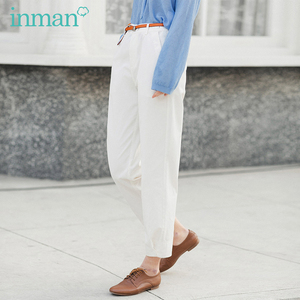 Image 2 - INMAN 2020 Summer New Arrival Literary Pure Cotton Medium Waist Concise Style Irregular Leg Opening Ankle Length Pant