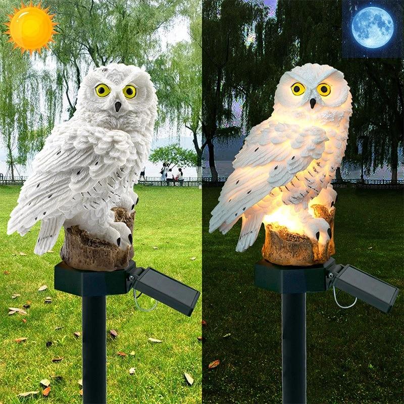 Solar Powered Outdoor Garden LED Animal Light Up Path Ornament White Owl
