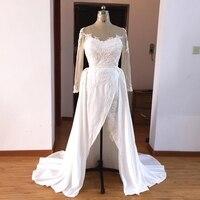 Dubai White Appliques Long Evening Dresses Satin 2020 Side Split Long Sleeves Evening Party Gown robe De Soiree Musulmane Longue
