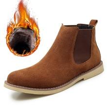 Mens Boots Shoes Winter Genuine-Leather Warm Bota Plush No Handmade