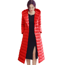 Chaqueta de plumón de color puro para mujer, chaqueta de plumón de invierno, abrigo largo entallado con capucha para mujer, talla S XXXL