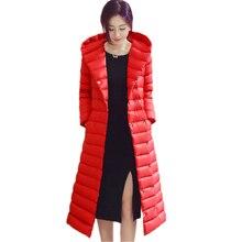 Pure color  womens down jacket winter  down jacket woman hooded Slim fit long  coat women size S XXXL