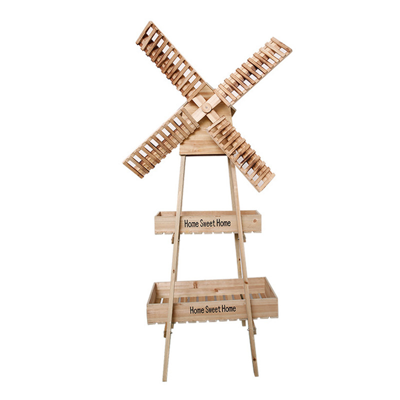 Christmas Wood Retro Rotating Windmill Garden Flower Stand Outdoor Wedding Welcome Soft Decoration Ornaments Wedding Props