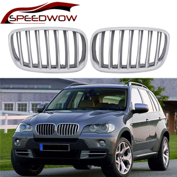 SPEEDWOW For BMW E70 E71 X5 X6 2007-2013 Car Front Grille Intake Kidney Racing Grills Grilles Car Exterior Parts Black Silver image