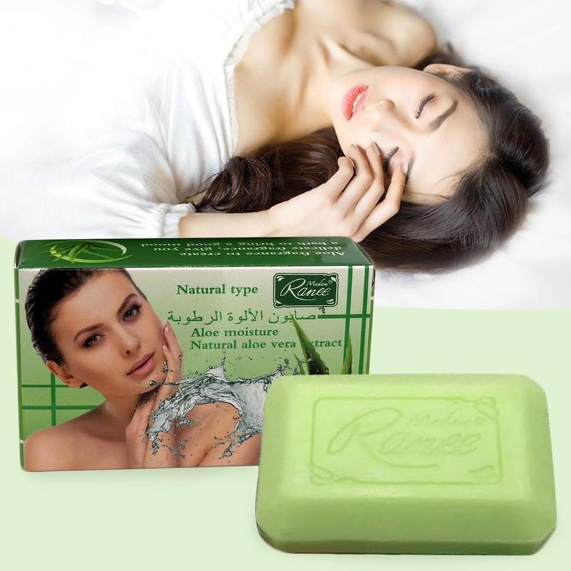 100g Pure Natural Aloe Handmade Soap Whitening Moisturizing Herbal Cleansing Soap Body Cleansing Moisturizing Aloe Gel