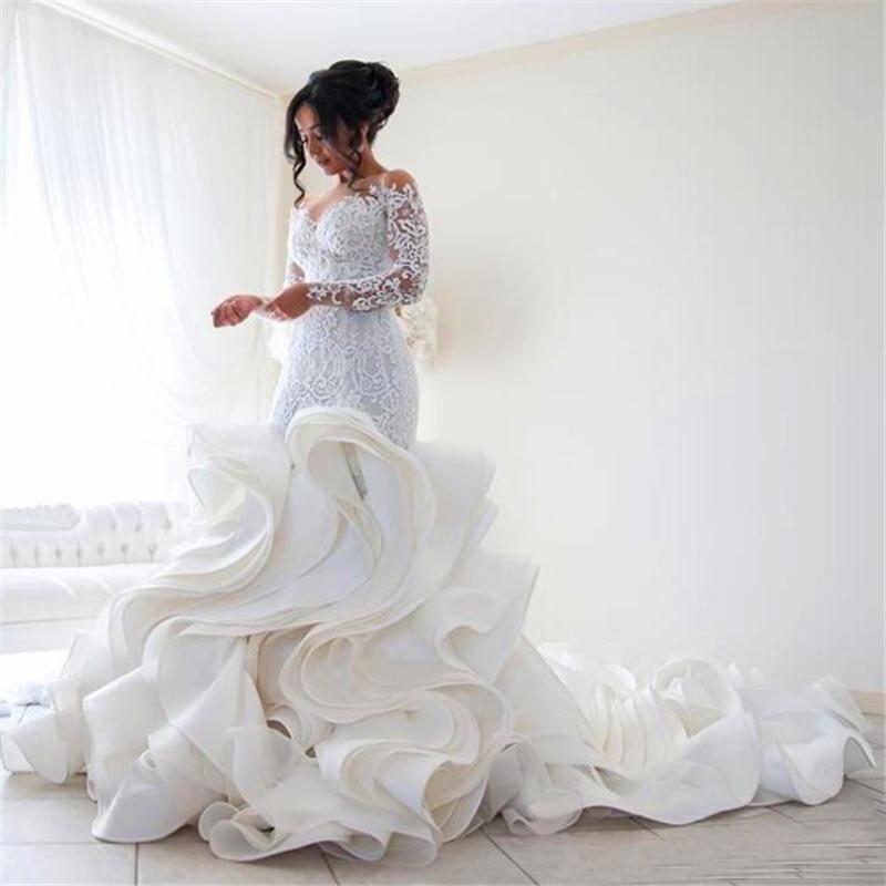 WD130 Mermaid Wedding Dresses Plus Size Appliques Lace Bride Dress Custom Made Romantic Ruffles Vestido De Novias Bridal Gowns