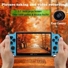 X7 Plus 8G Video Tragbare Arcade Spiel Konsole MP5 5,1 Zoll Bildschirm Handheld Musik Doppel Rocker LCD Rechargeabl Kid kinder Geschenk