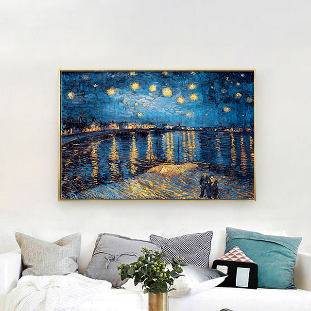 Van Gogh Oil Painting Starry Night Sunflower Abstract Canvas Art Print Poster Picture Wall House Decoration Murals