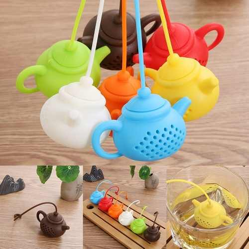 1Pcs Creative Teapot-Shape Tea Infuser Strainer Silicone Tea Bag Leaf Filter Diffuser Teaware Teapot Accessory Kitchen Gadget