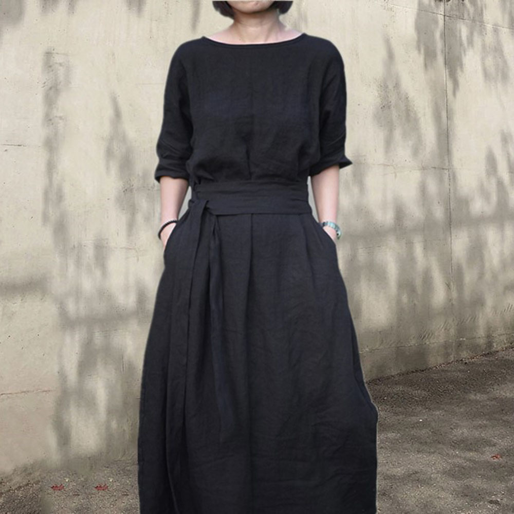 Maxi Boho Dress 2020 Spring  Solid Women Knee Party Black Dress Cotton Linen A-Line Vestido Casual Girls Dresses