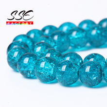 Loose-Beads Natural-Stone Diy Bracelet Cracked Crystal Jewelry-Making Round Blue Wholesale