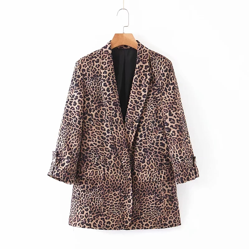 COZARII Women leopard printed sexy Winter Jacket Single buckle Elegant Pockets long sleeve ladies blazer 2019 fashion Za Jacket