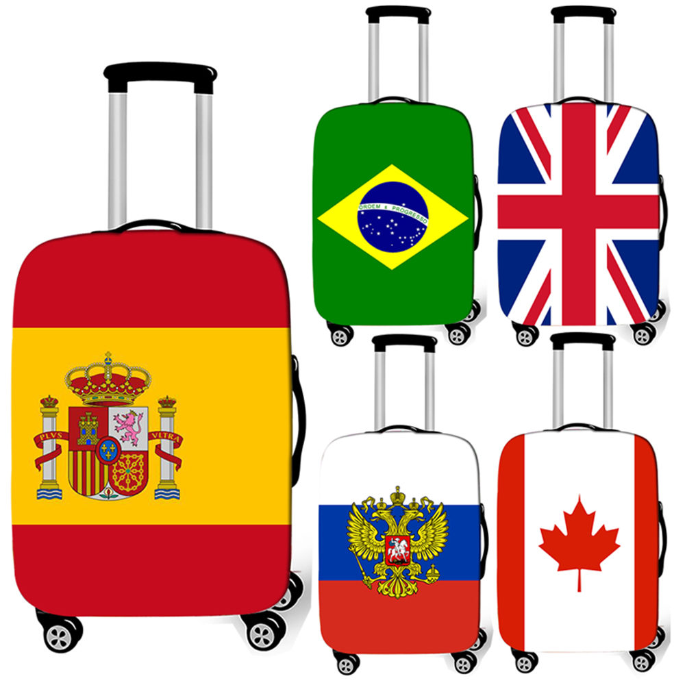 National Flags Print Luggage Cover Travel Accessories Anti-dust Suitcase Protective Covers Elastic Baggage Trolley Case Cover