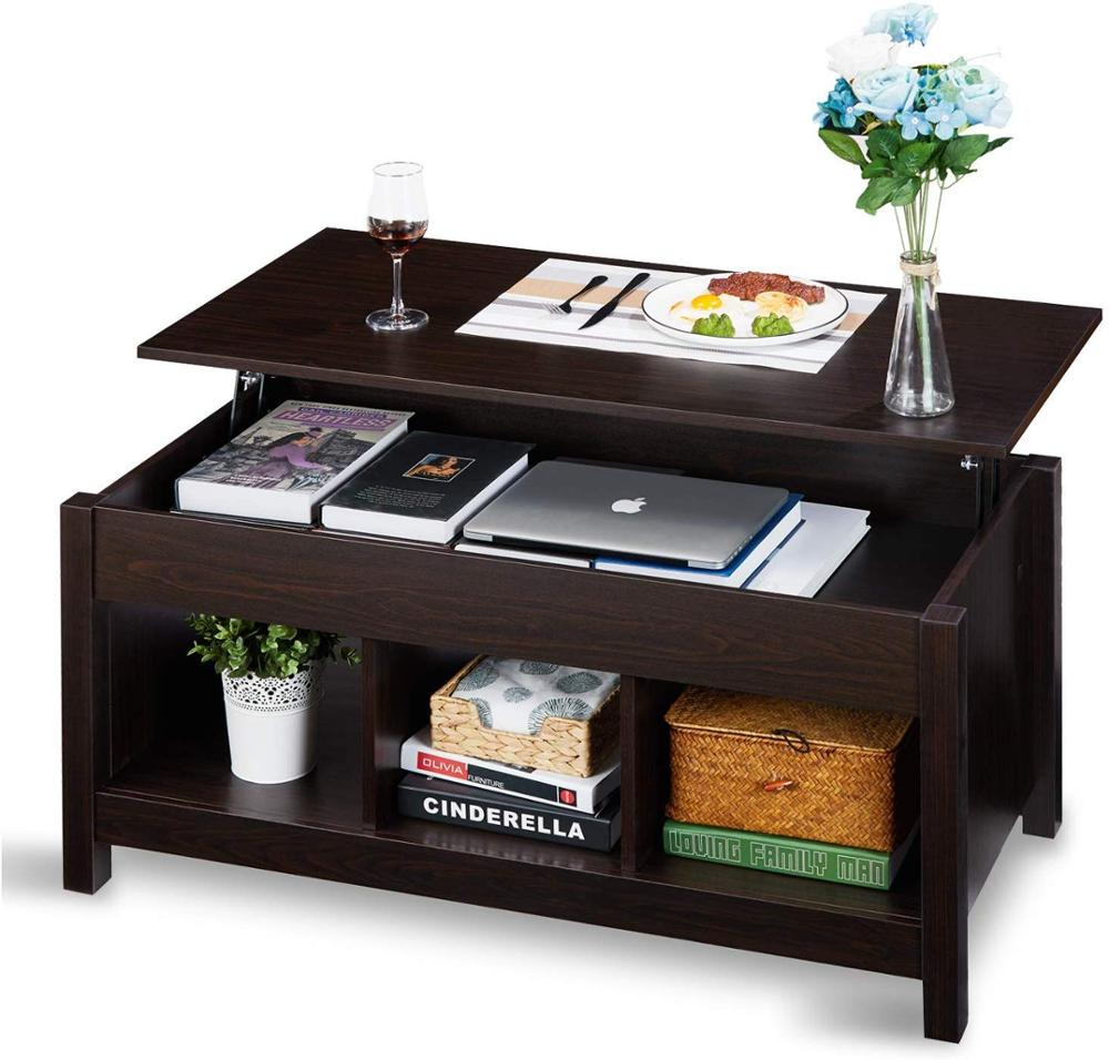 Lift Top Coffee Table Dining Table For Living Home, Display With Hidden Storage Compartment & Storage Space And Lift Tabletop
