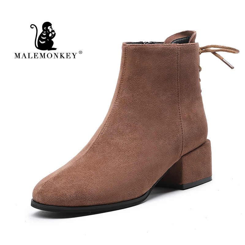 Mùa Đông Giày Nữ 2019 Đen Mắt Cá Chân Giày Cho Nữ Gót Dày Phối Ren Nữ Giày Gót Giày