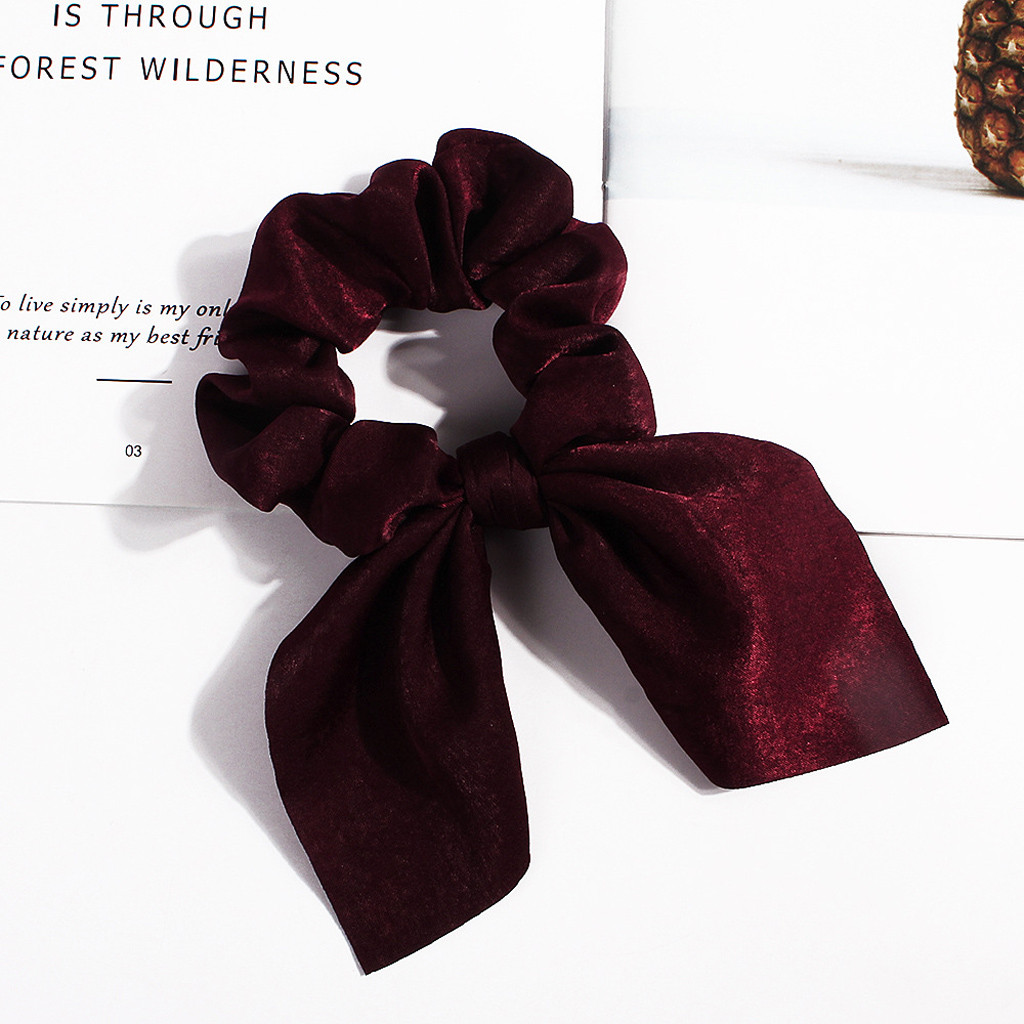 Fashion Fabric Hairband Print Bow Knot Women Hair Ring Head Hoop Girls Solid Scrunchie Rubber Bow Elastic Hair Rope Ring