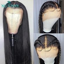 13X4 dantel ön İnsan saç peruk ipeksi düz brezilyalı Remy Frontal peruk ön koparıp bebek saç kadınlar için xcsunny