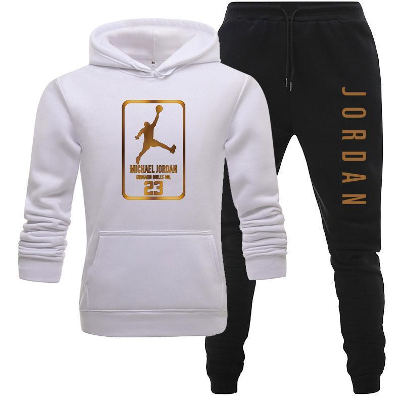 Marke Kleidung männer Mode Trainingsanzug Casual Sportsuit Männer Hoodies Sweatshirts Sportswear JORDAN 23 Mantel + Hose Männer Set