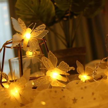 Butterfly Battery String Lights Multi Colors Led Lamp Outdoor Indoor Decorative Lighting for Garden Party Christmas Fairy Light 5m 20led 10m 35led big ball string light indoor outdoor decorative fairy lighting for christmas trees patio party