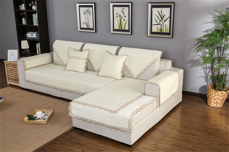 Thick Slip Resistant Couch Cover for Corner Sofa Made with Plush Fabric Including Lace for Living Room Decor 68
