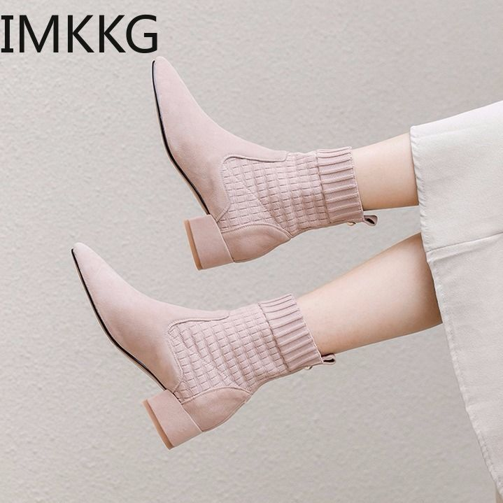 Womens Square Low Heel Ankle Boots Fashion Slip On Flock Round Toe Short Martin Booties