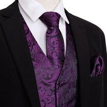 Purple Men Waistcoat Vest Party Wedding Handkerchief Tie Classic Paisl