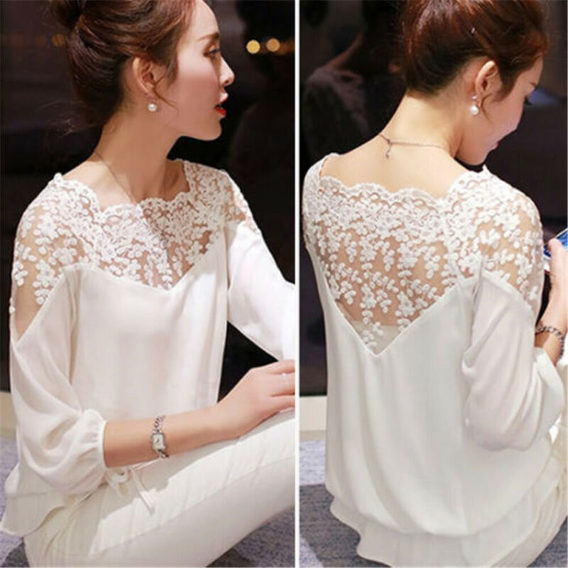 New Fashion Womens Casual Long Sleeve Floral Lace  Blouse Ruffle Ladies LooseTops