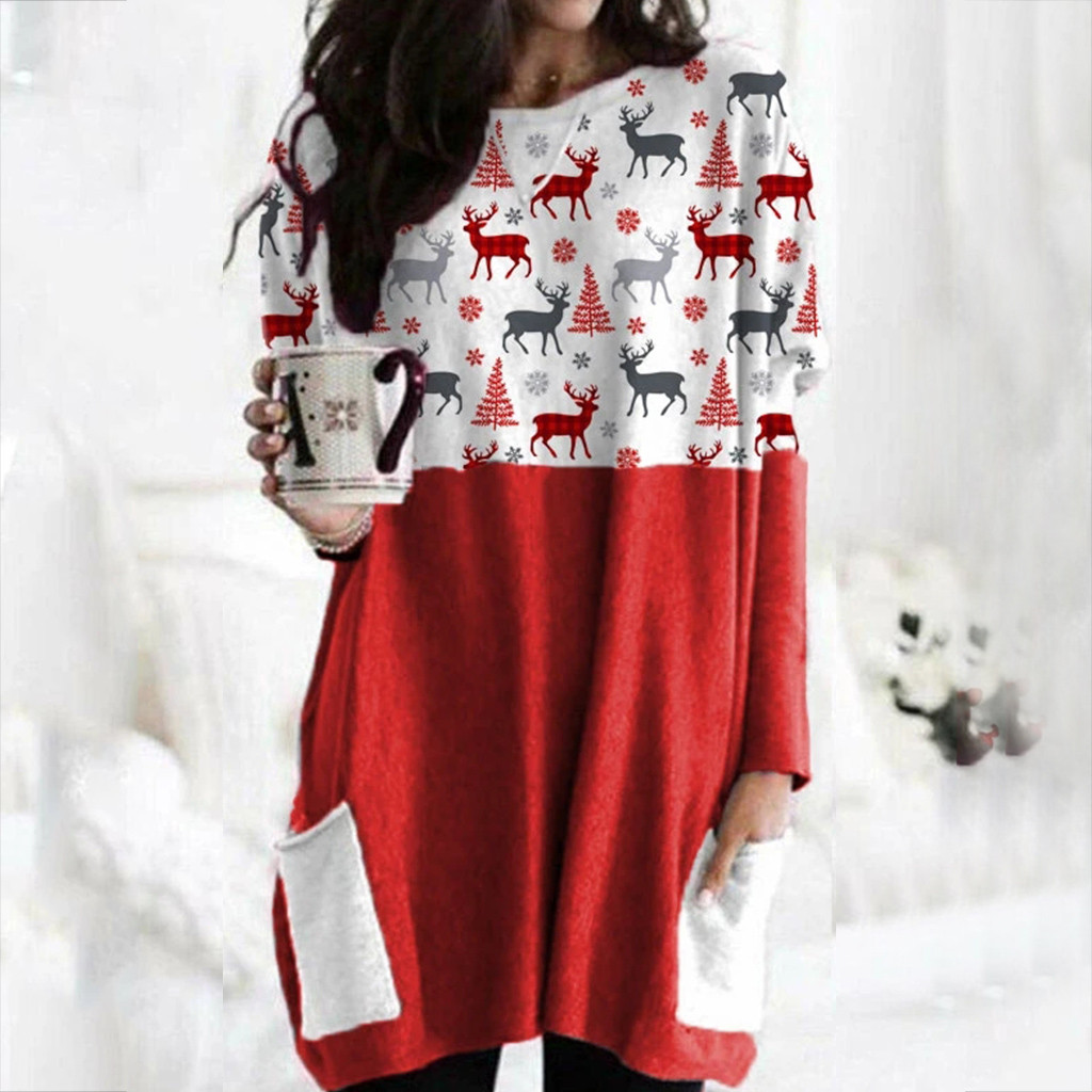 Hot Sale Women's Christmas Color Matching Print Long-sleeved Sweatshirt Casual Blouse Winter Korean Style Hoodies Women F 9