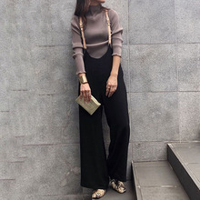 Korean Wide Leg Pants Female 2019 Woolen Straps Bi