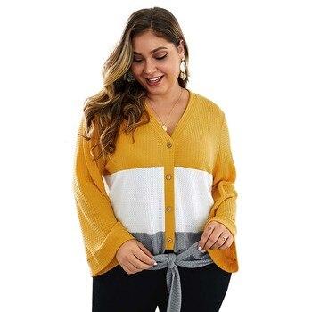 2019 Autumn Oversized Cardigans Women Sweater Sweater Women Cardigans Sweater Big Size Knitted Sweaters Female Ladies 4XL фото
