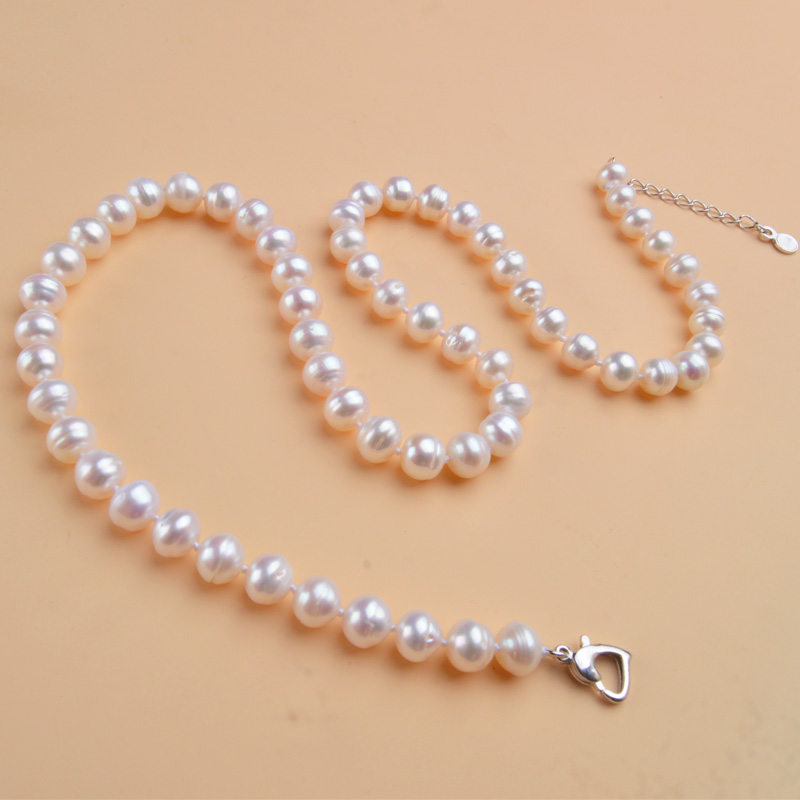 ASHIQI Natural freshwater pearl Necklace 8 9mm Near round pearl jewelry for women gift Innrech Market.com