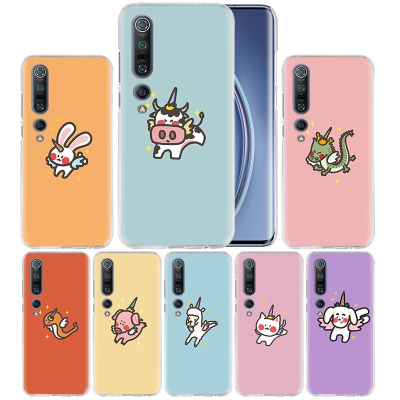 Kawaii Unicorn Animal Case For Xiaomi Mi Note 10 Pro 9T 9 CC9 A3 A2 8 Lite 6X 10Youth 5G Poco X2 F1 F2pro Hard Coque Fall
