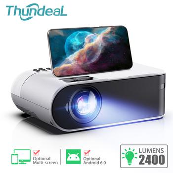 ThundeaL-przenośny miniprojektor TD60 domowe kino Wi-Fi Android 6 0 wideo 1080p 2400 lumenów telefon 3D wiązka światła tanie i dobre opinie Instrukcja Korekta CN (pochodzenie) Projektor cyfrowy 4 3 16 9 Focus 150 Ansi Lumens System multimedialny 854x480 dpi TD60 TD60A TD60W