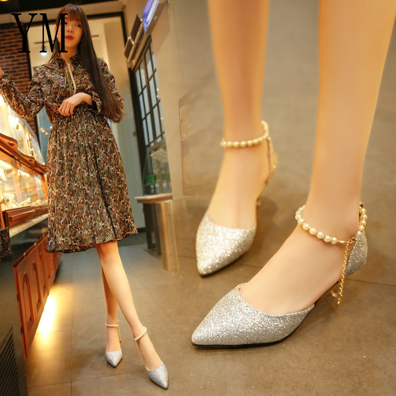 Sexy Pointed toe Pearl High heels shoes Female Fashion hollow with Sandals Paillette of the Thin Breathable shoes Women Pumps 6