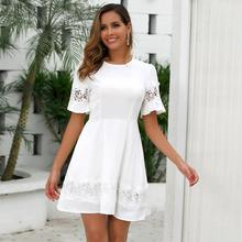 Phi Star Brand Sexy Womens openwork stitching lace high waist dress white