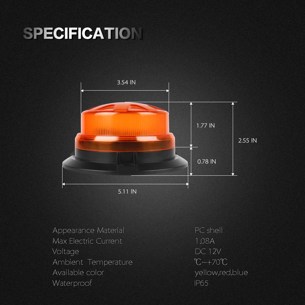 Top SaleBogrand 9-28V led rotating flashing amber emergency strobe warning beacon light with magnetic