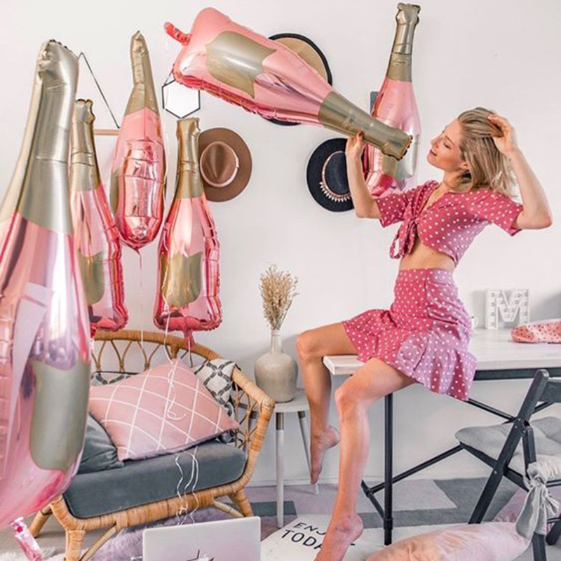 1pcs Rose Gold Champagne Bottle Wine Mylar Balloons Party Decorations Valentine's Day Bridal Shower Wedding Bachelorette Decor